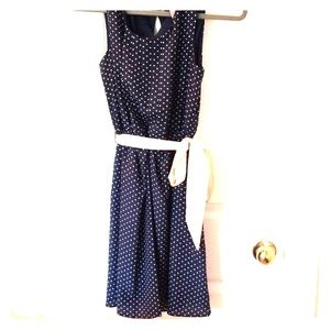 Forever 21 Navy and beige xs polka dot dress